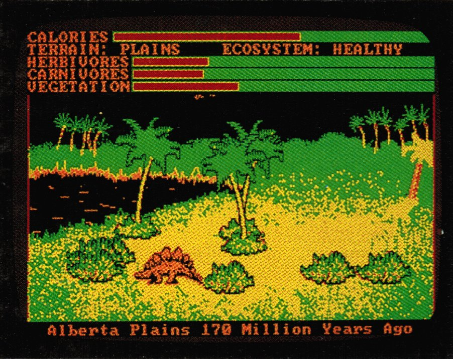 Screen shot of Designasaurus on the IBM (1988).