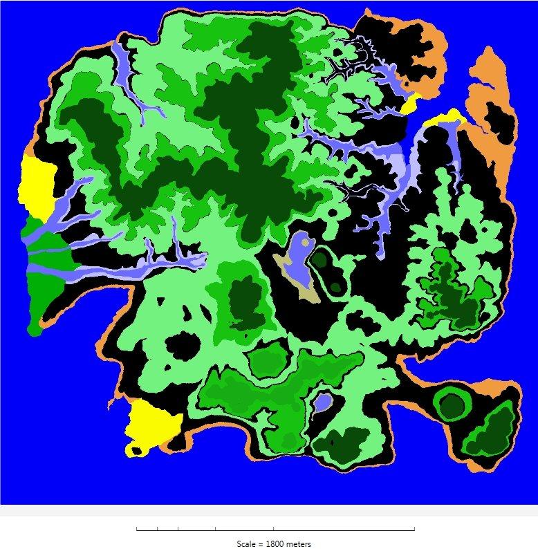 Dinosaur Island terrain displayed in false colors.