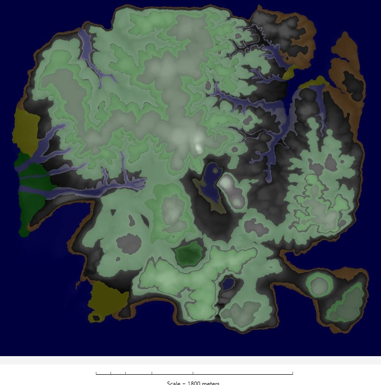 The terrain of Dinosaur Island displayed as a transparency over the elevation map.