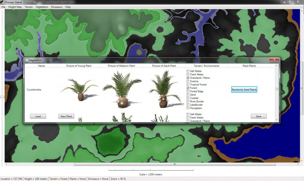 Part of the interface where the user can select what vegetation is planted in what environments.