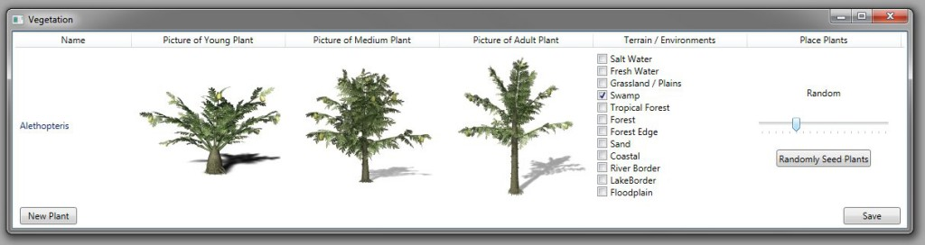 How we plant on Dinosaur Island; screen capture of the planting interface.