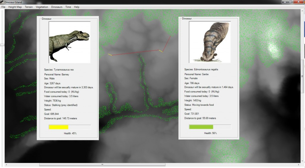 A Tyrannosaurus rex (Barney) on the left has identified an Edmontosaurus regalis (Gertie) on the right. Screen capture (click to enlarge).