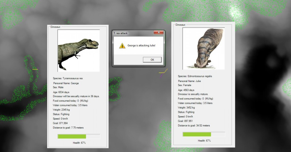 A T. rex named George successfully found, tracked, pursued and attacked an Edmontosaurus named Julie. Click to enlarge.