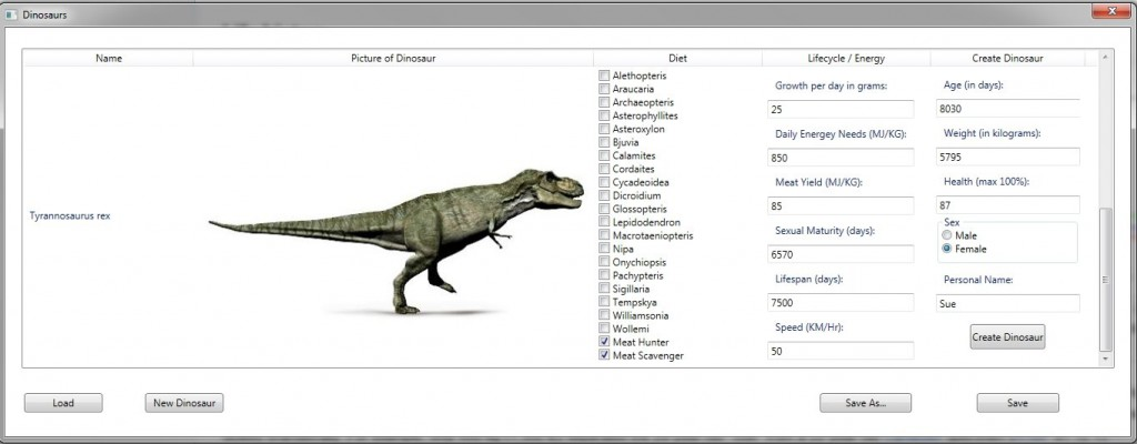How the user specifies the creation of a new dinosaur (screen capture).