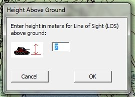 Adjusting the height of an object in MATE to calculate its line of sight (click to enlarge).