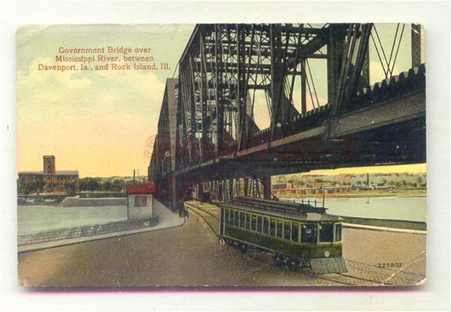 The Government Bridge between Davenport, Iowa and Rock Island, Illinois as it would have appeared during the winter of 1937-38 when John Atanasoff crossed it looking for a drink.