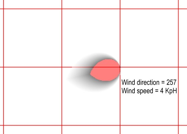 Results of the equation showing likelihood of detecting a scent at a specific location given the wind direction and wind velocity. Each square is 100 meters. Click to enlarge.