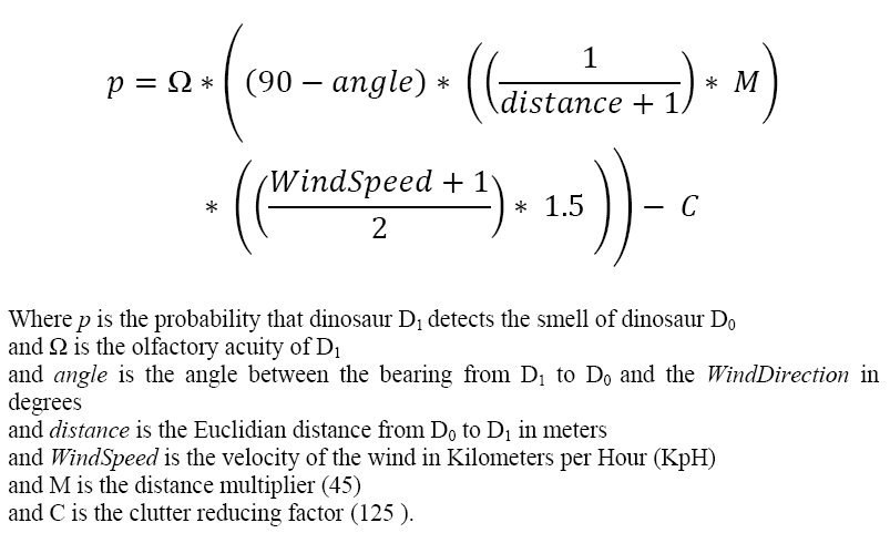 The finished equation for determining the probability of a dinosaur detecting the smell of another given wind direction, velocity, distance and bearing. Click to enlarge.