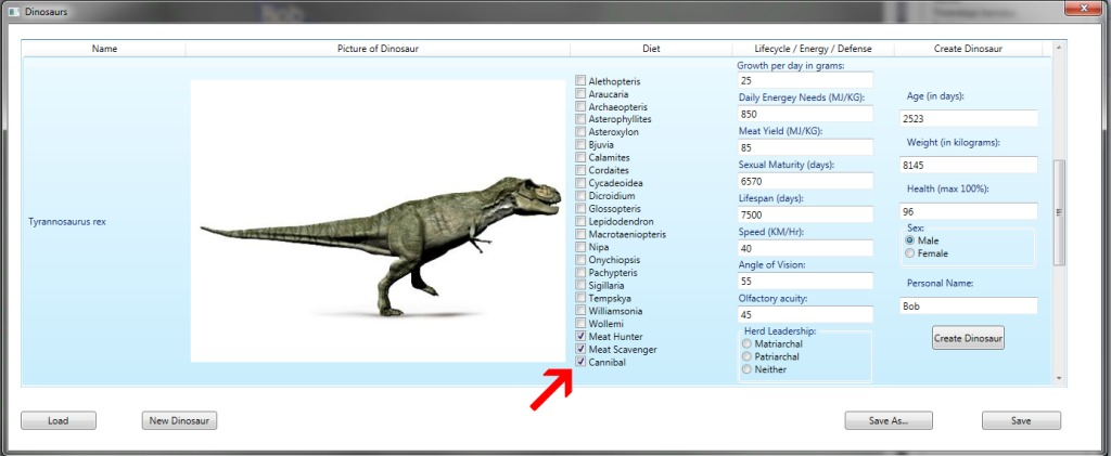 Dinosaur Island supports cannibalistic dinosaurs! Just click on the 'cannibal' box.